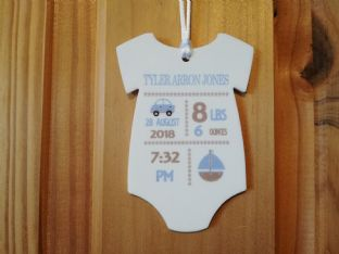 Baby Vest  Birth Statistics  - Blue or Pink